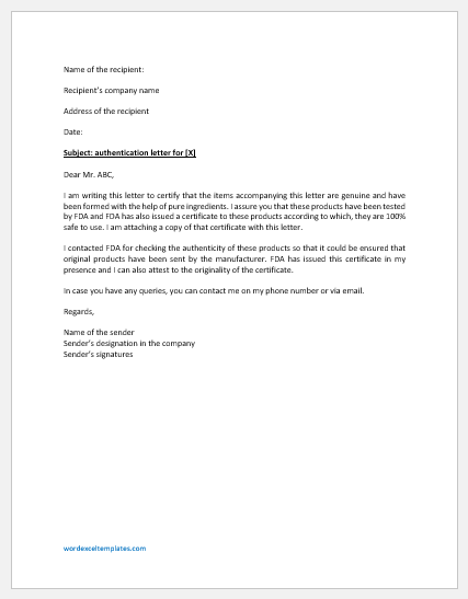 Sample Authentication Letter Template