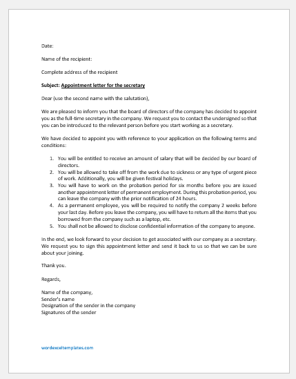 Sample appointment letter for a secretary