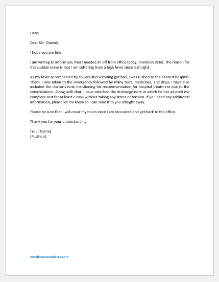 Absence excuse letter for fever