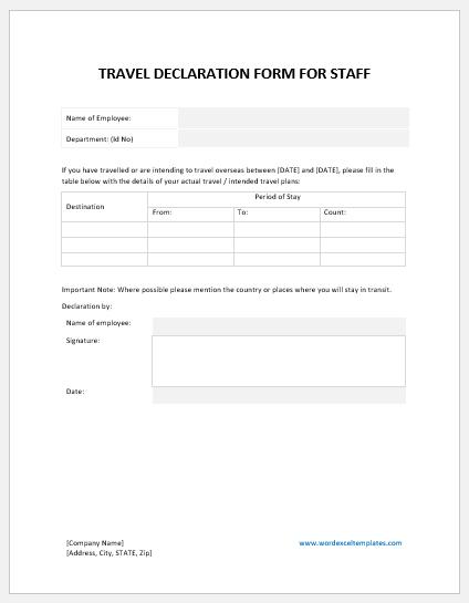 Employee travel declaration form template
