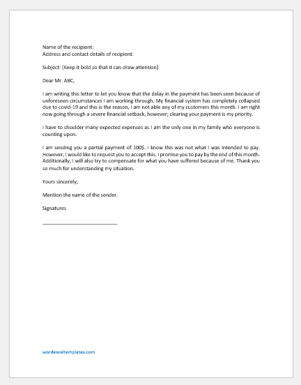 Letter Promise a Delayed Payment to Customer