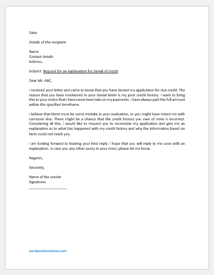 Letter Requesting an Explanation for Denial of Credit
