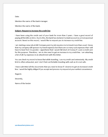 Letter Requesting an Increased Credit Line