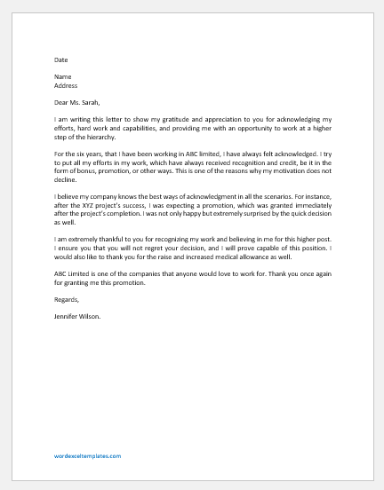 Letter of Gratitude and Appreciation for Promotion