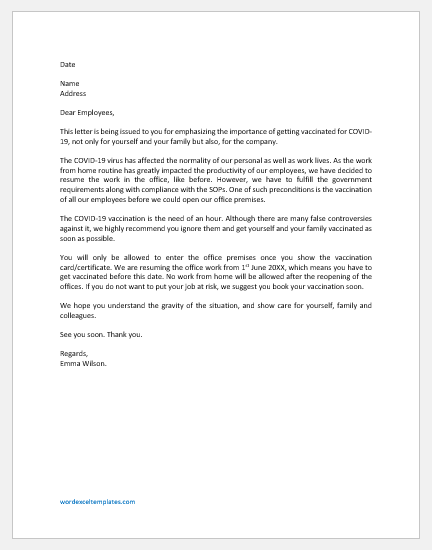 Letter to Staff about COVID-19 Vaccine