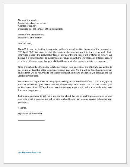 Permission Letter to Visit a museum