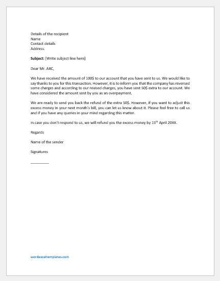 Refund Letter for Overpayment
