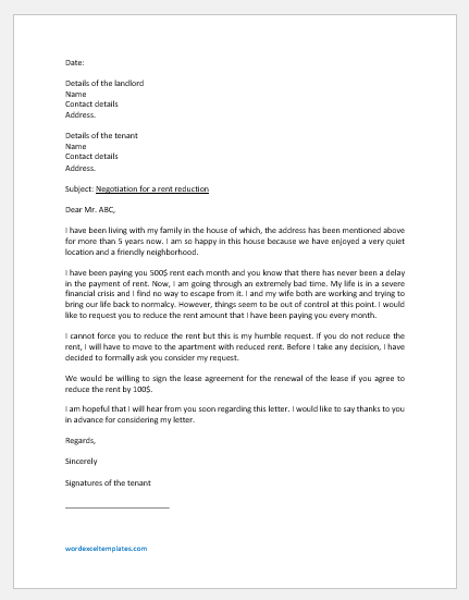 Rent Reduction Negotiation Letter