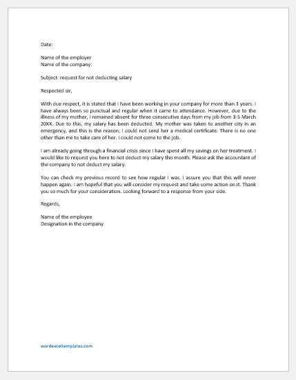 Request Letter for not Deducting Salary