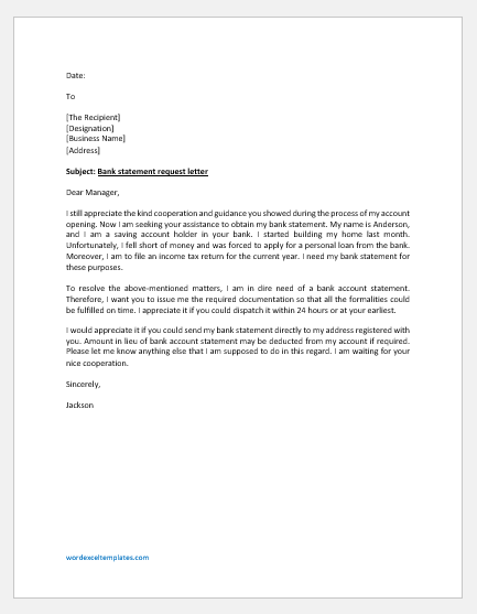 Bank Statement Request Letter