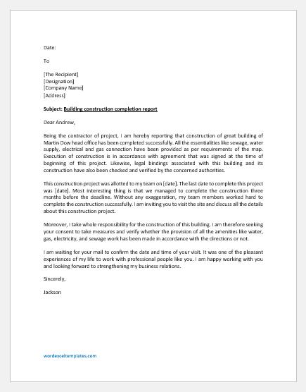 Building Construction Completion Report Letter