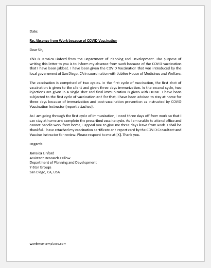 COVID Vaccine Excuse Letter