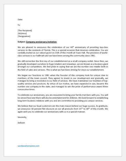 Company Anniversary Invitation Letter