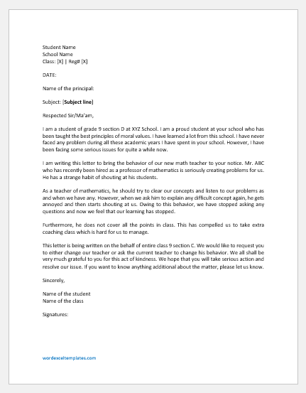 Complaint Letter against Misbehaviour of Teacher professor