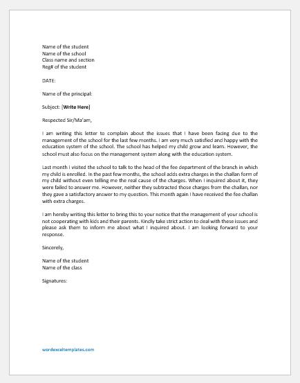 Complaint Letter against School Management