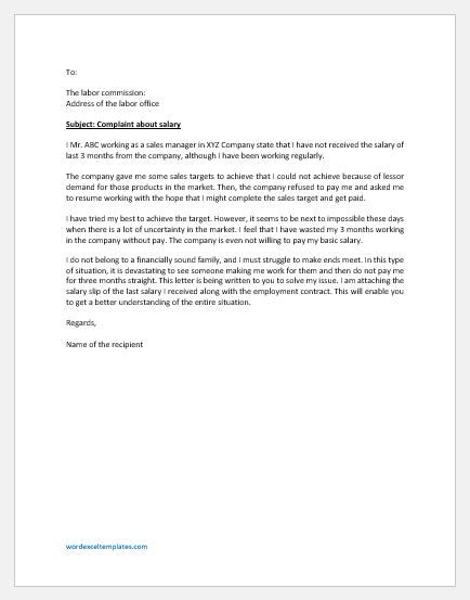 Complaint Letter to Labor Office for Salary