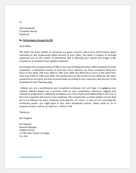 Employee performance concern letter