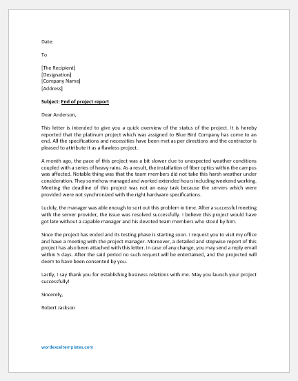 End of Project Report Letter