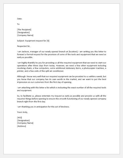 Equipment request letter