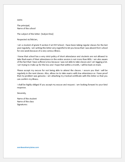 Excuse Letter for not Attending Class