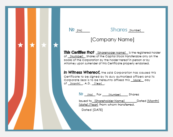 Investment certificate template for Word