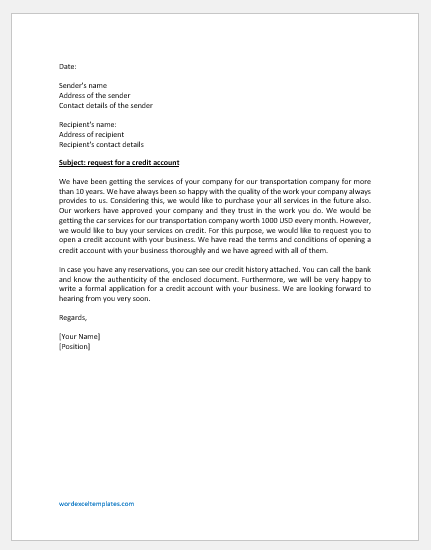 Letter Requesting or Apply for a Credit Account