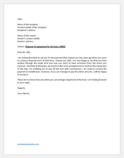 Letter requesting repayment of personal loan