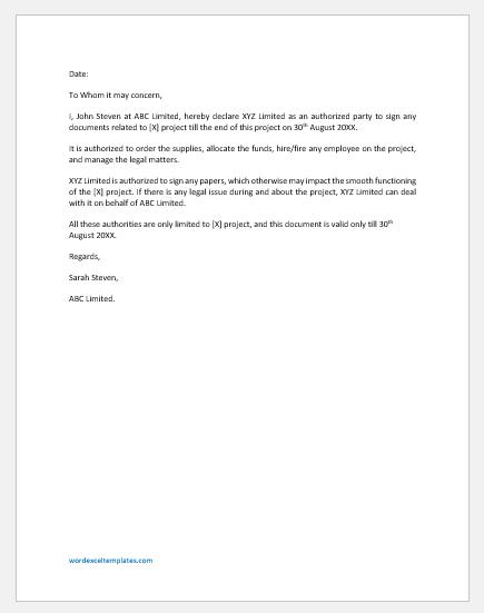 Partnership Authorization Letter