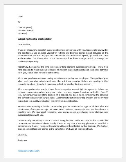 Partnership breakup letter template