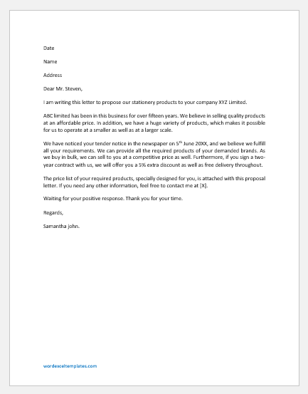 Proposal Letter to Sell Products