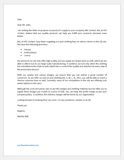 Proposal Letter to Supply Clothing Products