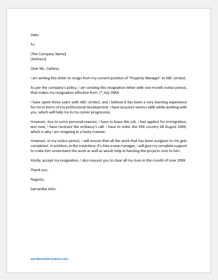 Resignation Letter from Property Management Office