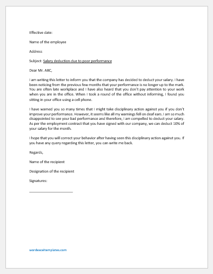 Salary Deduction Letter due to Employee's Poor Performance