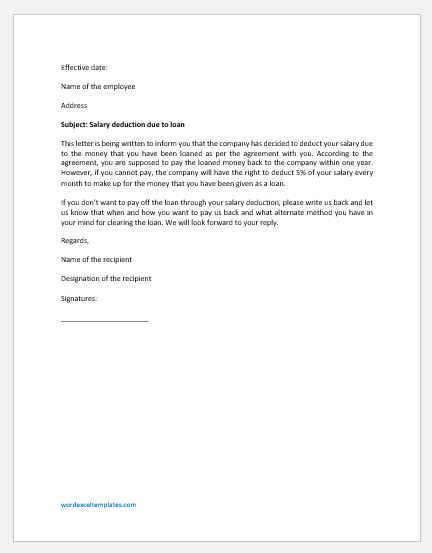 Salary Deduction Letter to Employee for Loan