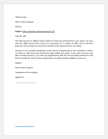 Salary Deduction Reimbursement Letter