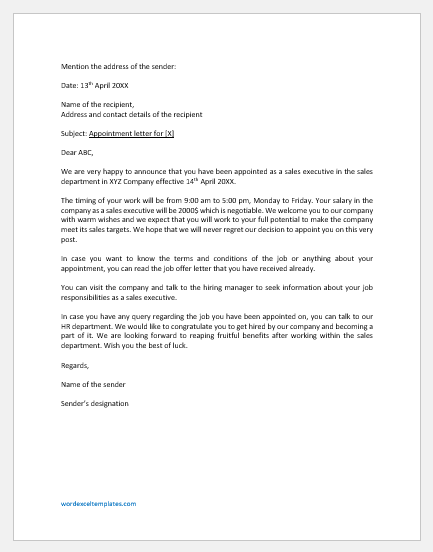 Sales Executive Appointment Letter