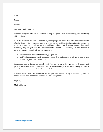 Solicitation Letter for Community Pantry