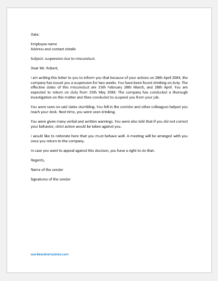 Suspension Letter for Misconduct at Work
