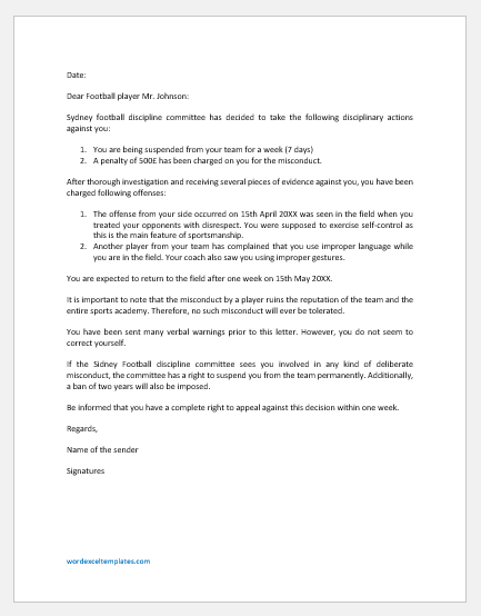 Suspension Letter to Player for Misconduct