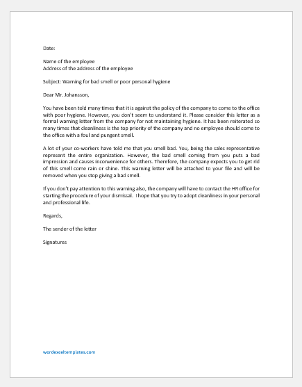 Warning Letter to Employee for Bad Smell
