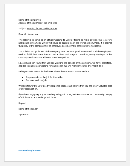 Warning Letter to Employee for Failing to Make Entries