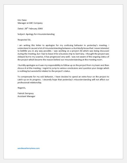 Apologizing Company Management for Misunderstanding