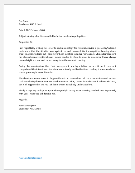 Apology Letter to Class Teacher for disrespectful behavior on cheating allegations