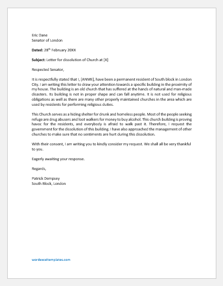 Church Dissolution Letter Template