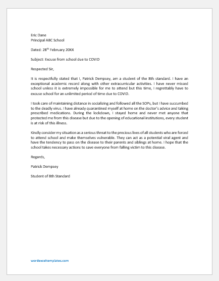 Excuse Letter for School due to COVID