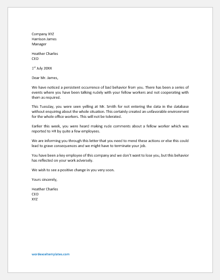 Letter to Employee for Behaving Badly at Workplace