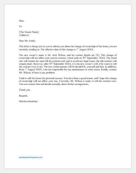 Letter to Tenant Regarding Change of Ownership