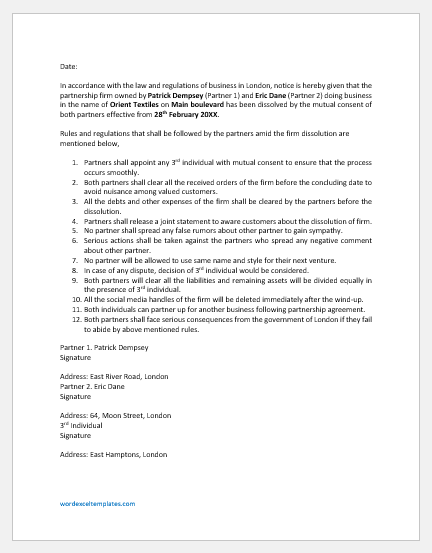 Notice of dissolution of partnership firm