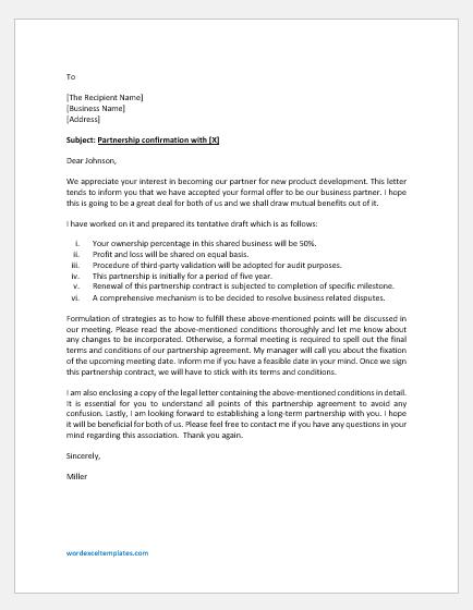 Partnership confirmation letter