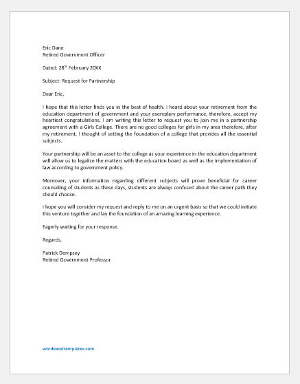 Partnership request Letter for an educational institute